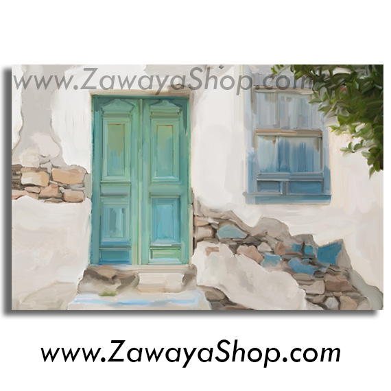 Vintage old door white blue green canvas wall art print available in ...